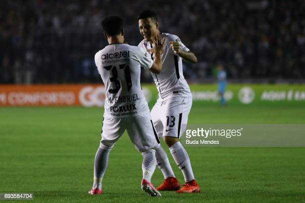 Marquinhos Gabriel and Guilherme Arana of Corinthians celebrate a scored goal against Vasco during a match between Vasco and Corinthians as part of...