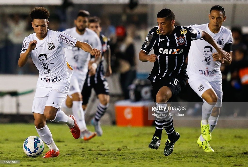 Marquinhos Gabriel of Santos in action during the match between Santos and Corinthians for the Brazilian Series A 2015 at Vila Belmiro stadium on...