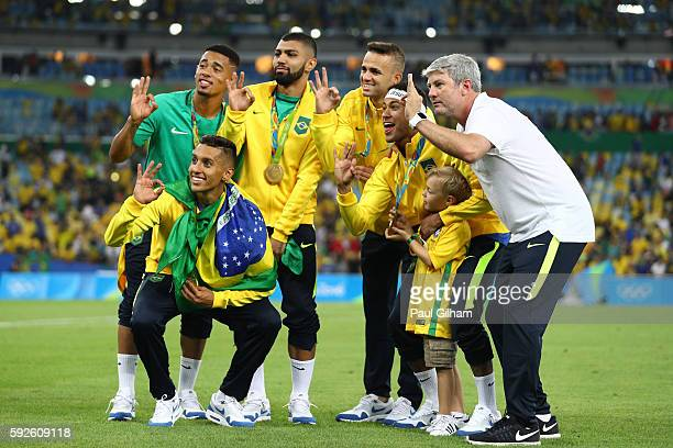 Marquinhos of Brazil Gabriel Jesus of Brazil Gabriel Barbosa of Brazil Luan of Brazil and Neymar of Brazil celebrate following the Men's Football...