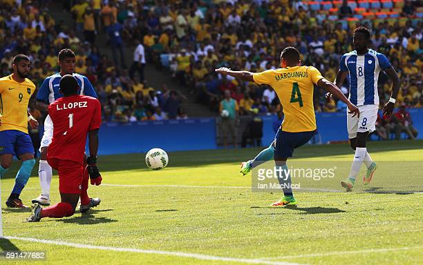 Marquinhos of Brazil scores the fourth goal during the Semi Final match between Brazil and Honduras at Maracana Stadium on August 17 2016 in Rio de...