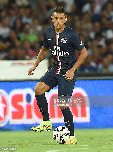 Marquinhos of Paris Saint Germain in action during the preseason friendly match between SSC Napoli and Paris SaintGermain FC at Stadio San Paolo on...