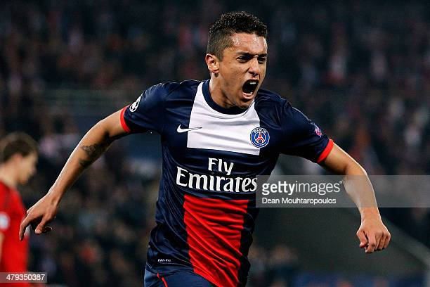Marquinhos of Paris SaintGermain celebrates after he scores their first goal during the UEFA Champions League Round of 16 second leg match between...