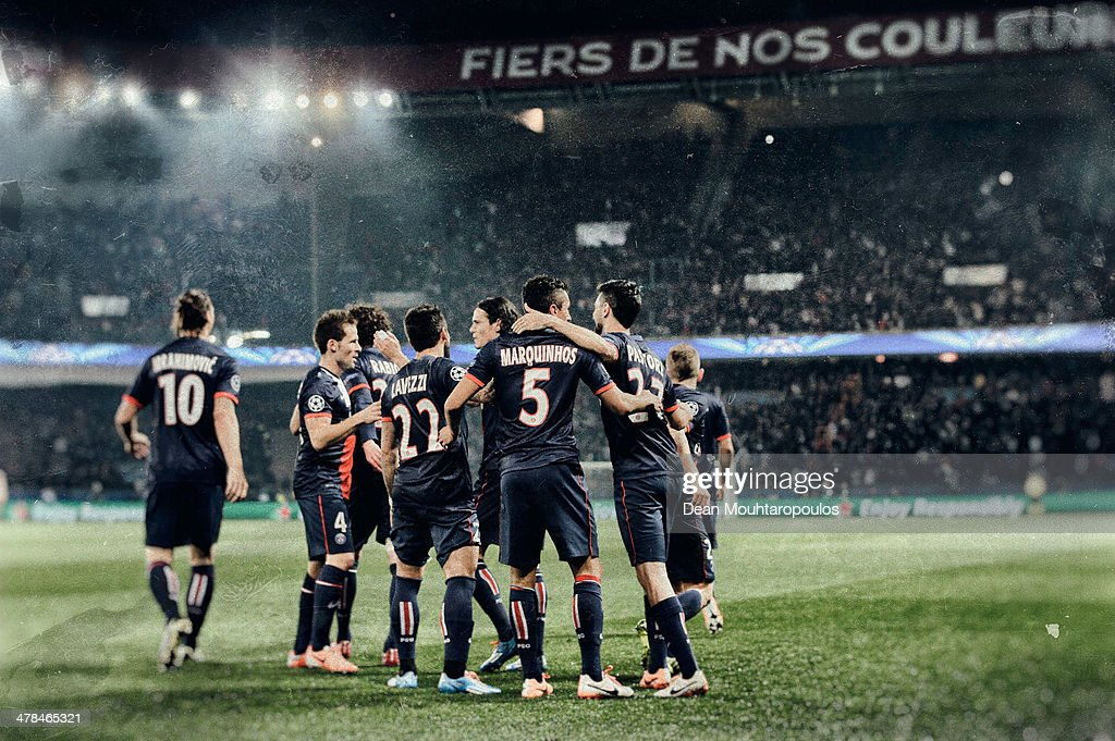 Marquinhos of Paris SaintGermain celebrates with team mates as he scores their first goal during the UEFA Champions League Round of 16 second leg...