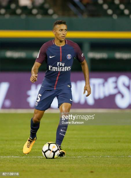Marquinhos of Paris SaintGermain controls the ball against AS Roma during the second half at Comerica Park on July 19 2017 in Detroit Michigan