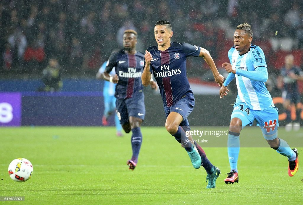 Marquinhos of Paris Saint-Germain in action during the French Ligue 1 match between Paris Saint-Germain and Olympique de Marseille at Parc des Princes on october 23, 2016 in Paris, France.