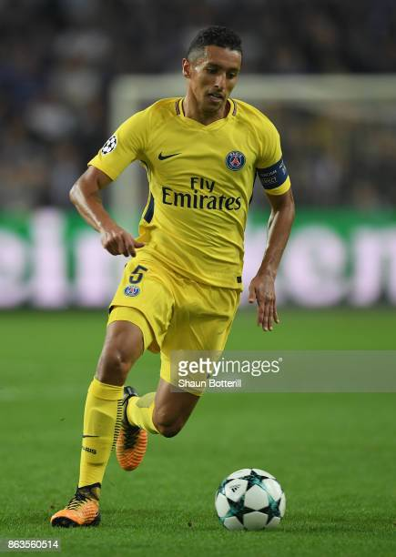 Marquinhos of Paris SaintGermain runs with the ball during the UEFA Champions League group B match between RSC Anderlecht and Paris SaintGermain at...