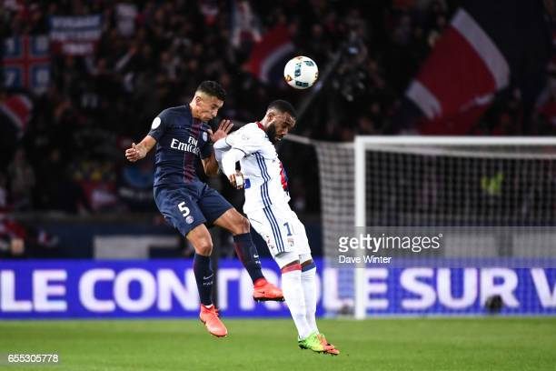 Marquinhos of PSG and Alexandre Lacazette of Lyon during the French Ligue 1 match between Paris Saint Germain and Lyon at Parc des Princes on March...