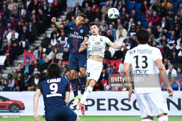 Marquinhos of PSG and Frederic Guilbert of Caen during the Ligue 1 match between Paris SaintGermain and SM Caen at Parc des Princes on May 20 2017 in...