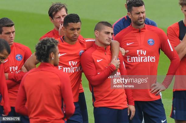 Marquinhos of PSG and Marco Verratti of PSG during the training session of Paris Saint Germain on August 11 2017 in Paris France