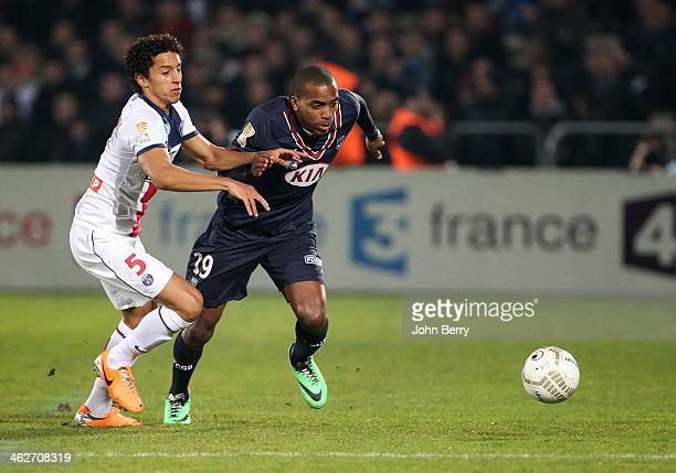 Marquinhos of PSG and Nicolas MauriceBelay of Bordeaux in action during the french League Cup match between FC Girondins de Bordeaux and Paris...
