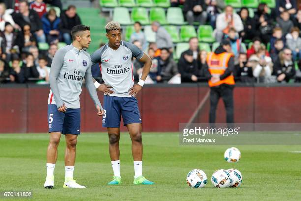Marquinhos of PSG and Presnel Kimpembe of PSG during the Ligue 1 match between Fc Metz and Paris SaintGermain at Stade SaintSymphorien on April 18...