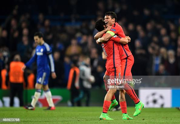 Marquinhos of PSG and Thiago Silva of PSG celebrate following their team's victory during the UEFA Champions League Round of 16 second leg match...