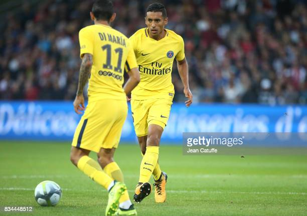 Marquinhos of PSG during the French Ligue 1 match between En Avant Guingamp and Paris Saint Germain at Stade de Roudourou on August 13 2017 in...