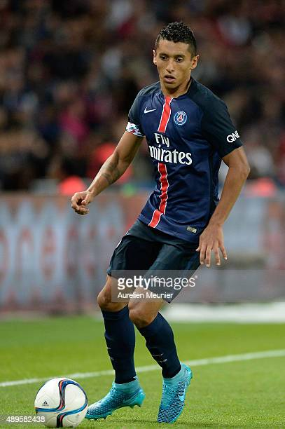 Marquinhos of PSG in action during the Ligue 1 game between Paris SaintGermain and EA Guingamp at Parc des Princes on September 22 2015 in Paris...