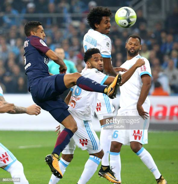 Marquinhos of PSG Jordan Amavi Luiz Gustavo Rolando of OM during the French Ligue 1 match between Olympique de Marseille and Paris Saint Germain at...