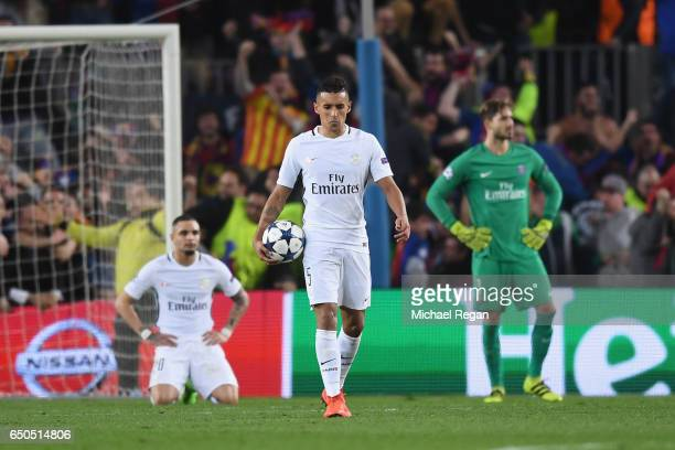 Marquinhos of PSG looks dejected after Barcelona's 6th goal during the UEFA Champions League Round of 16 second leg match between FC Barcelona and...