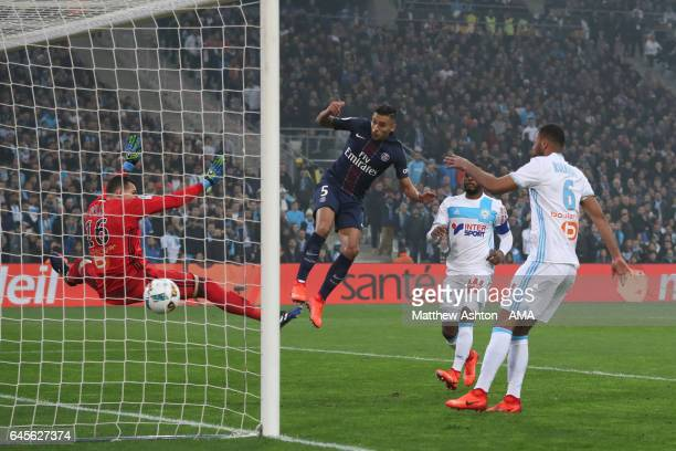 Marquinhos scores a goal to make it 01 during the French Ligue 1 match Marseille and Paris Saint Germain at Stade Velodrome on February 26 2017 in...