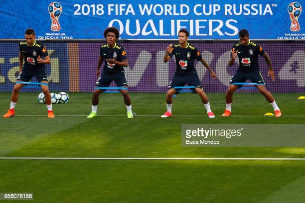 Marquinhos Willian Neymar and Paulinho of Brazil in action during a training session at Arena Corinthians on March 26 2017 in Sao Paulo Brazil