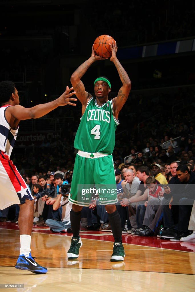 <a gi-track='captionPersonalityLinkClicked' href=/galleries/search?phrase=Marquis+Daniels&family=editorial&specificpeople=202465 ng-click='$event.stopPropagation()'>Marquis Daniels</a> #4 of the Boston Celtics aims to pass during the game between the Washington Wizards and the Boston Celtics at the Verizon Center on January 22, 2012 in Washington, DC.