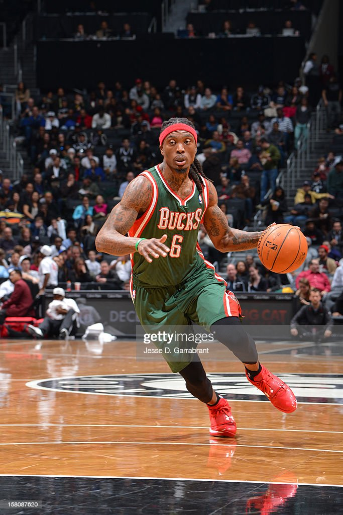<a gi-track='captionPersonalityLinkClicked' href=/galleries/search?phrase=Marquis+Daniels&family=editorial&specificpeople=202465 ng-click='$event.stopPropagation()'>Marquis Daniels</a> #6 of the Milwaukee Bucks handles the ball against the Brooklyn Nets on December 9, 2012 at the Barclays Center in Brooklyn, New York.