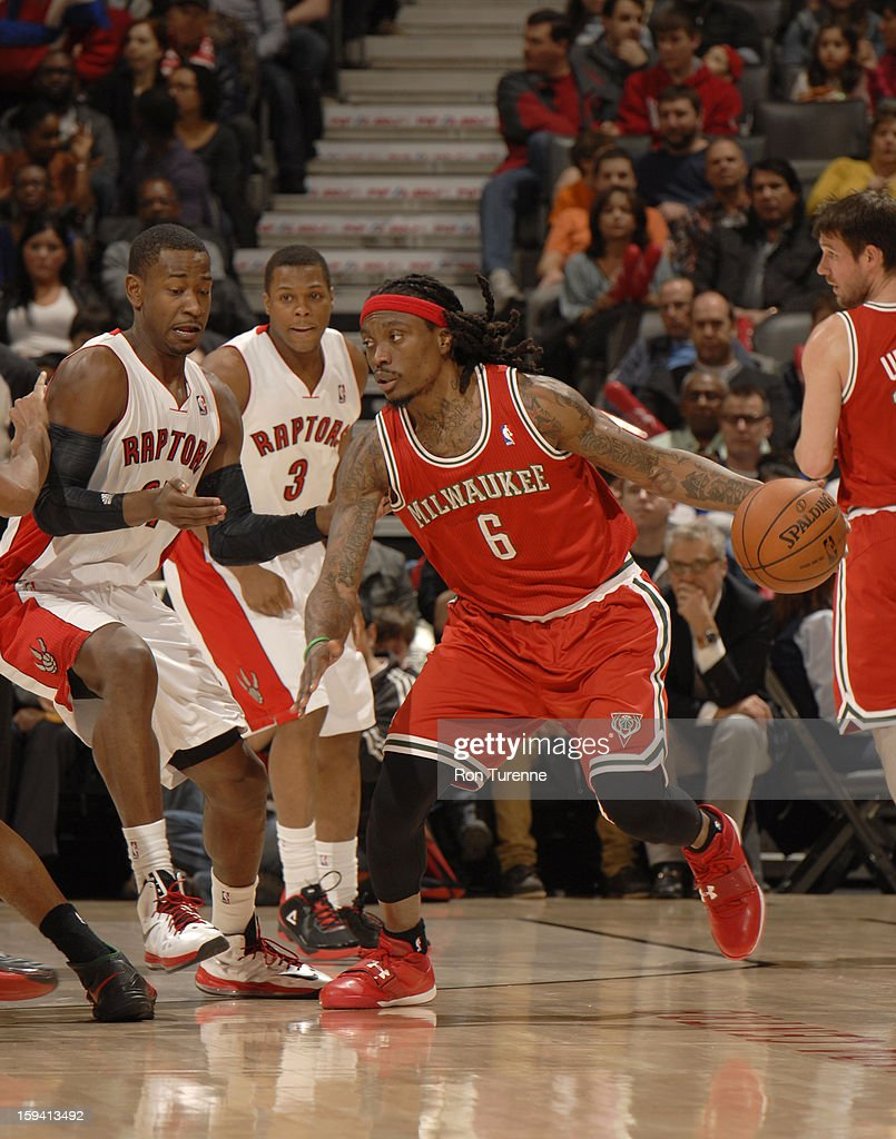 Marquis Daniels #6 of the Milwaukee Bucks protects the ball during the game between the Toronto Raptors and the Milwaukee Bucks on January 13, 2013 at the Air Canada Centre in Toronto, Ontario, Canada.