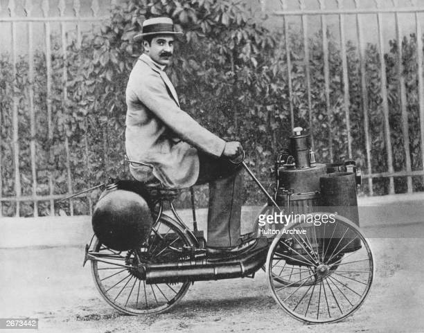 Marquis de Dion driving a steam tricycle