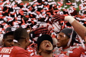 Marquis Maze of the Alabama Crimson Tide after defeating Louisiana State University Tigers in the 2012 Allstate BCS National Championship Game at...
