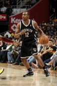 Marquis Teague of the Brooklyn Nets controls the ball against the Cleveland Cavaliers at The Quicken Loans Arena on April 16 2014 in Cleveland Ohio...