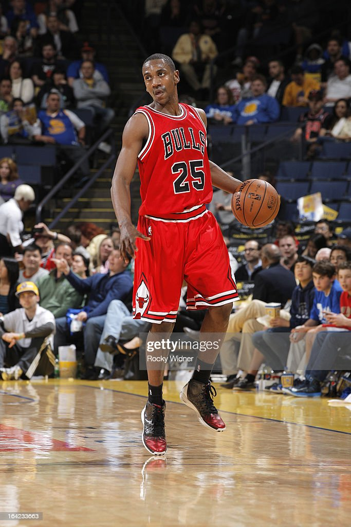 <a gi-track='captionPersonalityLinkClicked' href=/galleries/search?phrase=Marquis+Teague&family=editorial&specificpeople=7621183 ng-click='$event.stopPropagation()'>Marquis Teague</a> #25 of the Chicago Bulls dribbles against the Golden State Warriors on March 15, 2013 at Oracle Arena in Oakland, California.