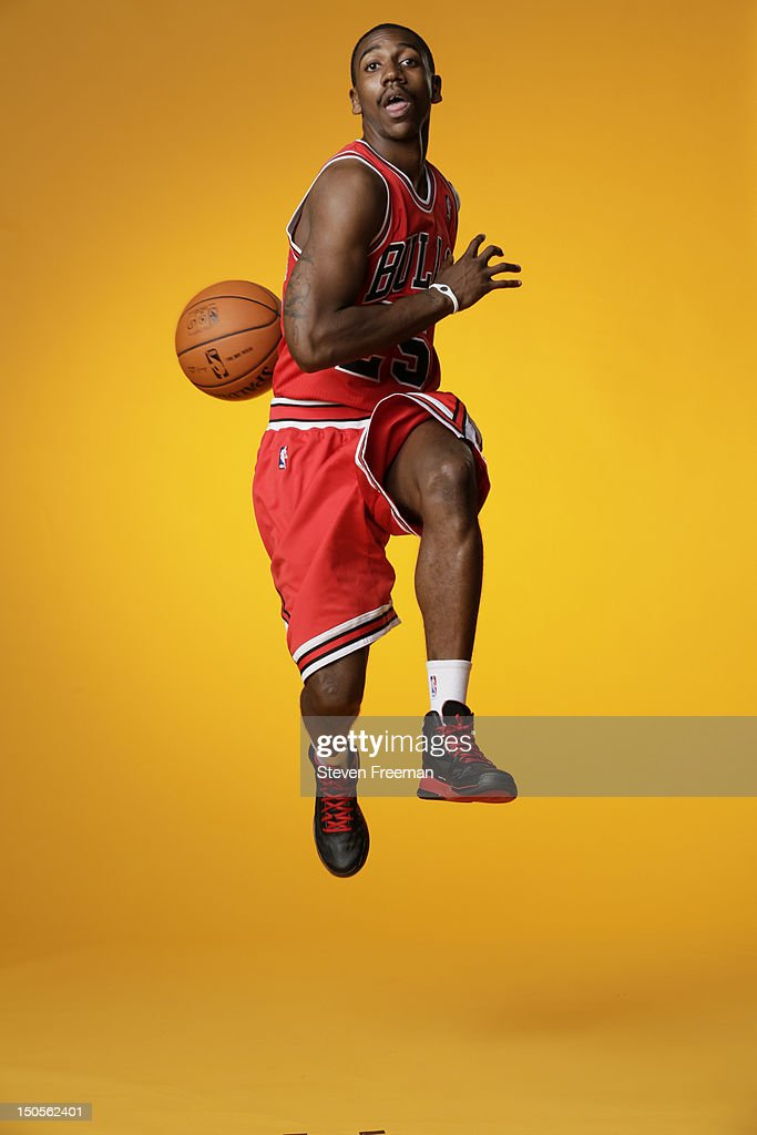 Marquis Teague #25 of the Chicago Bulls poses for a portrait during the 2012 NBA rookie photo shoot on August 21, 2012 at the MSG Training Facility in Tarrytown, New York.