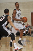 Marquis Teague of the Miami Heat handles the ball against the Brooklyn Nets during the Samsung NBA Summer League 2014 on July 6 2014 at Amway Center...