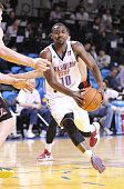 Marquis Teague of the Oklahoma City Blue dribbles the ball against the Idaho Stampede during the 2015 NBA DLeague Showcase presented by SAMSUNG on...