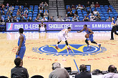 Marquis Teague of the Oklahoma City Blue dribbles the ball against the Westchester Knicks during 2015 NBA DLeague Showcase presented by SAMSUNG on...