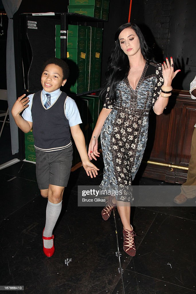 Marquise Neal and Katy Perry do runway backstage at the Tony Nominated hit musical 'Kinky Boots' on Broadway at The Al Hirshfeld Theater on May 1, 2013 in New York City.