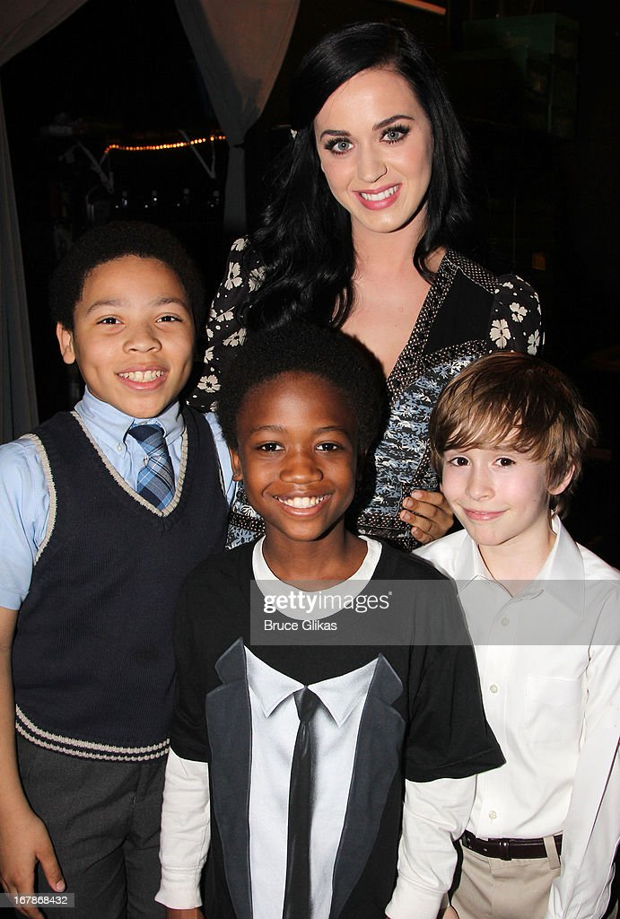 Marquise Neal, Cole Bullock, Katy Perry and Sebastian Hedges Thomas pose backstage at the Tony Nominated hit musical 'Kinky Boots' on Broadway at The Al Hirshfeld Theater on May 1, 2013 in New York City.