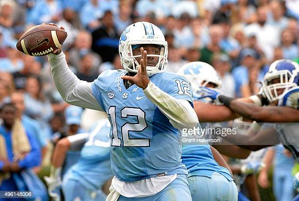 Marquise Williams of the North Carolina Tar Heels drops back to pass against the Duke Blue Devils during their game at Kenan Stadium on November 7...