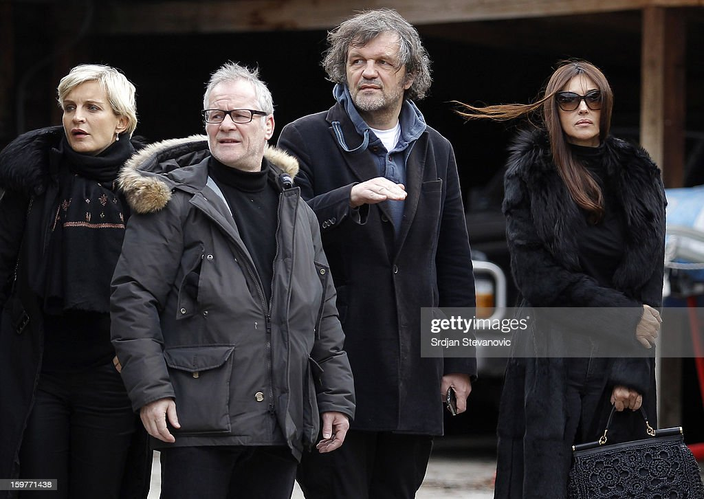 Marrakech International Film Festival director Melita Toscan du Plantier, Cannes Film Festival director Thierry Fremaux, film director Emir Kusturica and Italian actress Monica Bellucci attend day 3 of the Kustendorf Film Festival on January 20, 2013 in Drvengrad, Serbia.