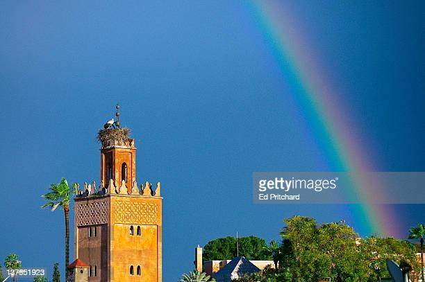 Marrakech, minaret with rainbow