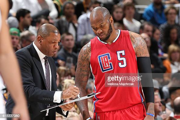 Marreese Speights and Doc Rivers of the Los Angeles Clippers are seen during the game against the Utah Jazz on October 17 2016 at vivintSmartHome...