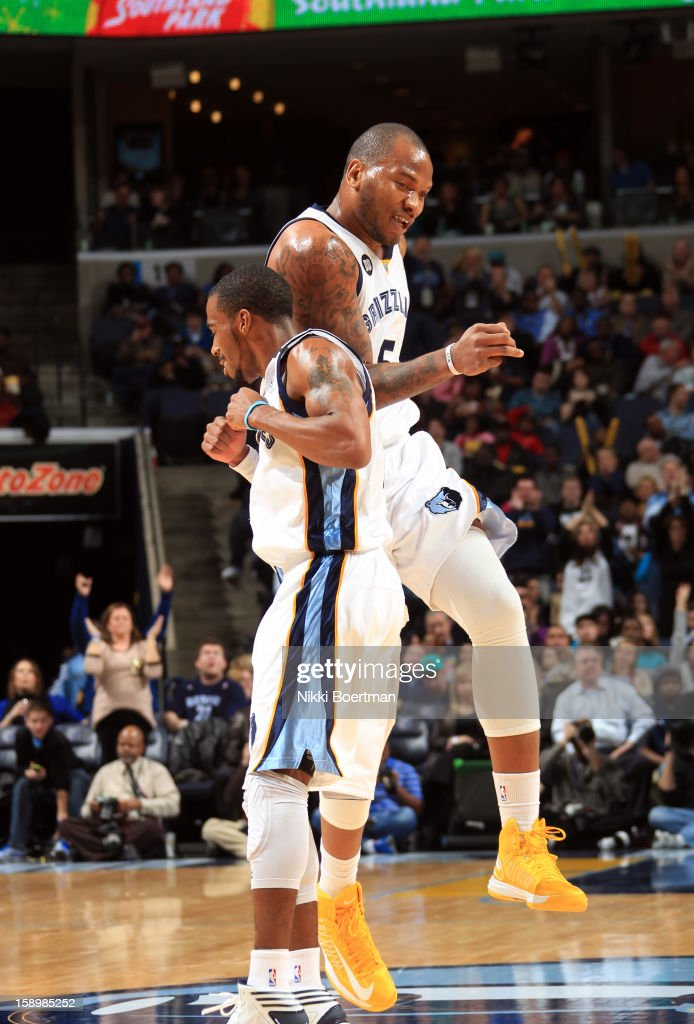 <a gi-track='captionPersonalityLinkClicked' href=/galleries/search?phrase=Marreese+Speights&family=editorial&specificpeople=4187263 ng-click='$event.stopPropagation()'>Marreese Speights</a> #5 and Mike Conley #11 of the Memphis Grizzlies celebrate during a game against the Portland Trail Blazers on January 4, 2013 at FedExForum in Memphis, Tennessee.