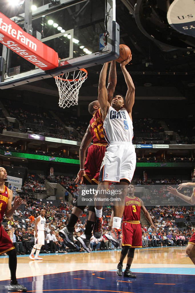 Marreese Speights #15 of the Cleveland Cavaliers blocks a shot against Gerald Henderson #9 of the Charlotte Bobcats at the Time Warner Cable Arena on April 17, 2013 in Charlotte, North Carolina.