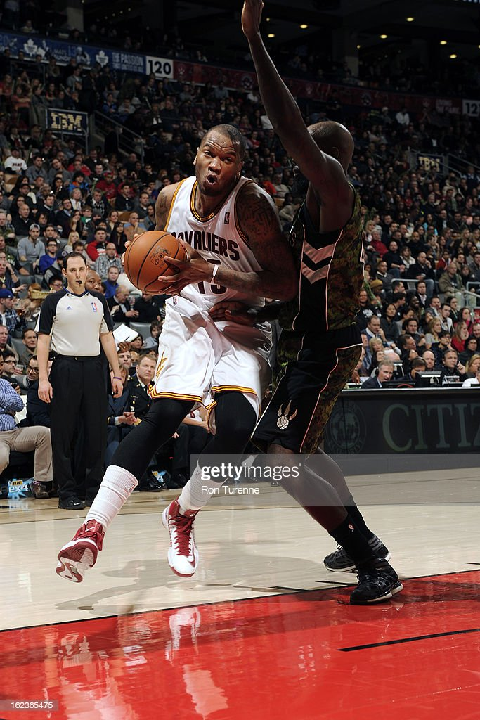 Marreese Speights #15 of the Cleveland Cavaliers drives to the basket against the Toronto Raptors on January 26, 2013 at the Air Canada Centre in Toronto, Ontario, Canada.