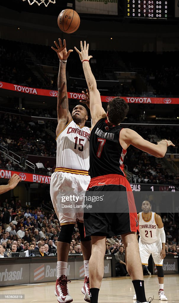 Marreese Speights #15 of the Cleveland Cavaliers shoots against Andrea Bargnani #7 of the Toronto Raptors at The Quicken Loans Arena on February 27, 2013 in Cleveland, Ohio.