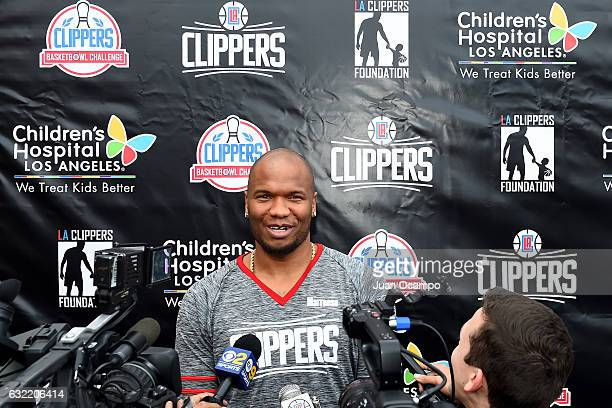 Marreese Speights of the LA Clippers talks to media during the LA Clippers Foundation Hosts Annual Charity Basketbowl Challenge Presented by...