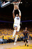 Marreese Speights of the Golden State Warriors attempts a dunk during Game Two of the 2015 NBA Finals on June 7 2015 at Oracle Arena in Oakland...
