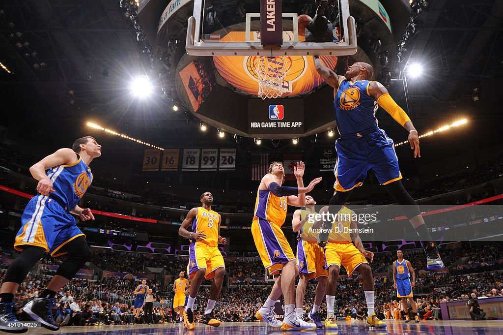 <a gi-track='captionPersonalityLinkClicked' href=/galleries/search?phrase=Marreese+Speights&family=editorial&specificpeople=4187263 ng-click='$event.stopPropagation()'>Marreese Speights</a> #5 of the Golden State Warriors attempts a shot during a game against the Los Angeles Lakers on November 22, 2013 at STAPLES Center in Los Angeles, California.