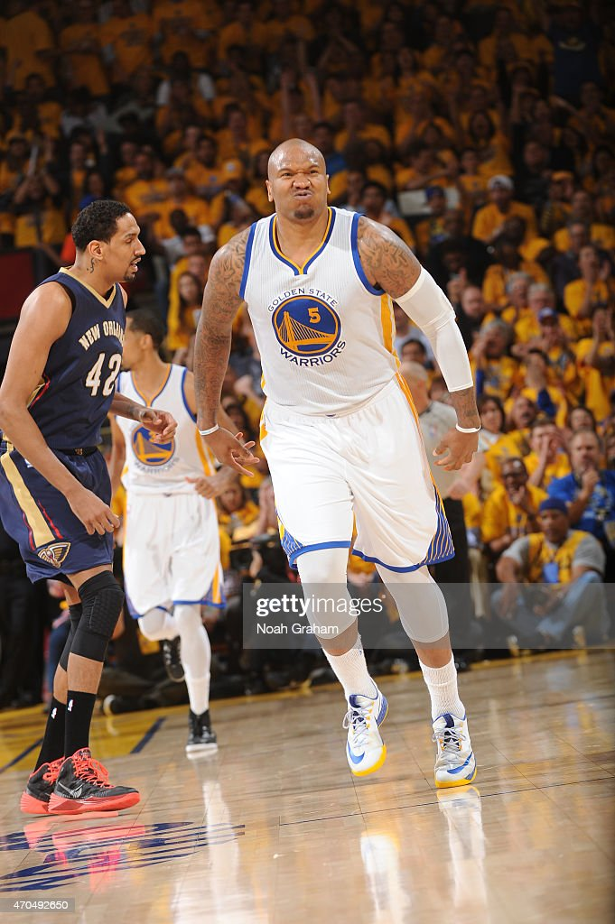 Marreese Speights of the Golden State Warriors celebrates after scoring against the New Orleans Pelicans in Game Two of the Western Conference...