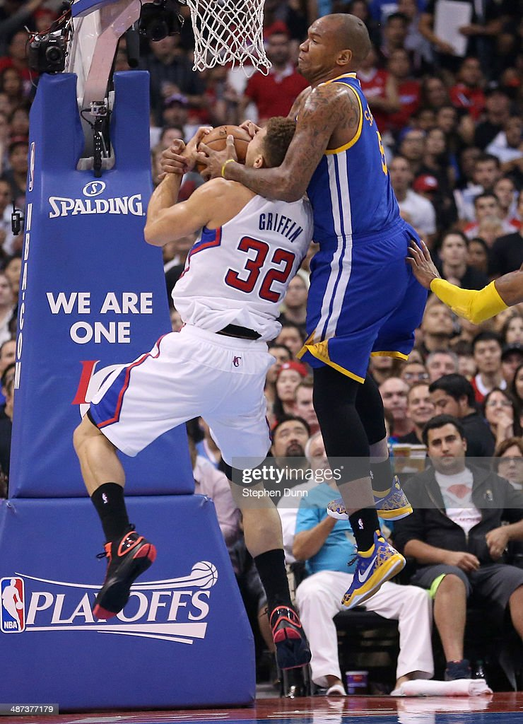 Marreese Speights #5 of the Golden State Warriors commits a flagrant foul against Blake Griffin #32 of the Los Angeles Clippers in Game Five of the Western Conference Quarterfinals during the 2014 NBA Playoffs at Staples Center on April 29, 2014 in Los Angeles, California.