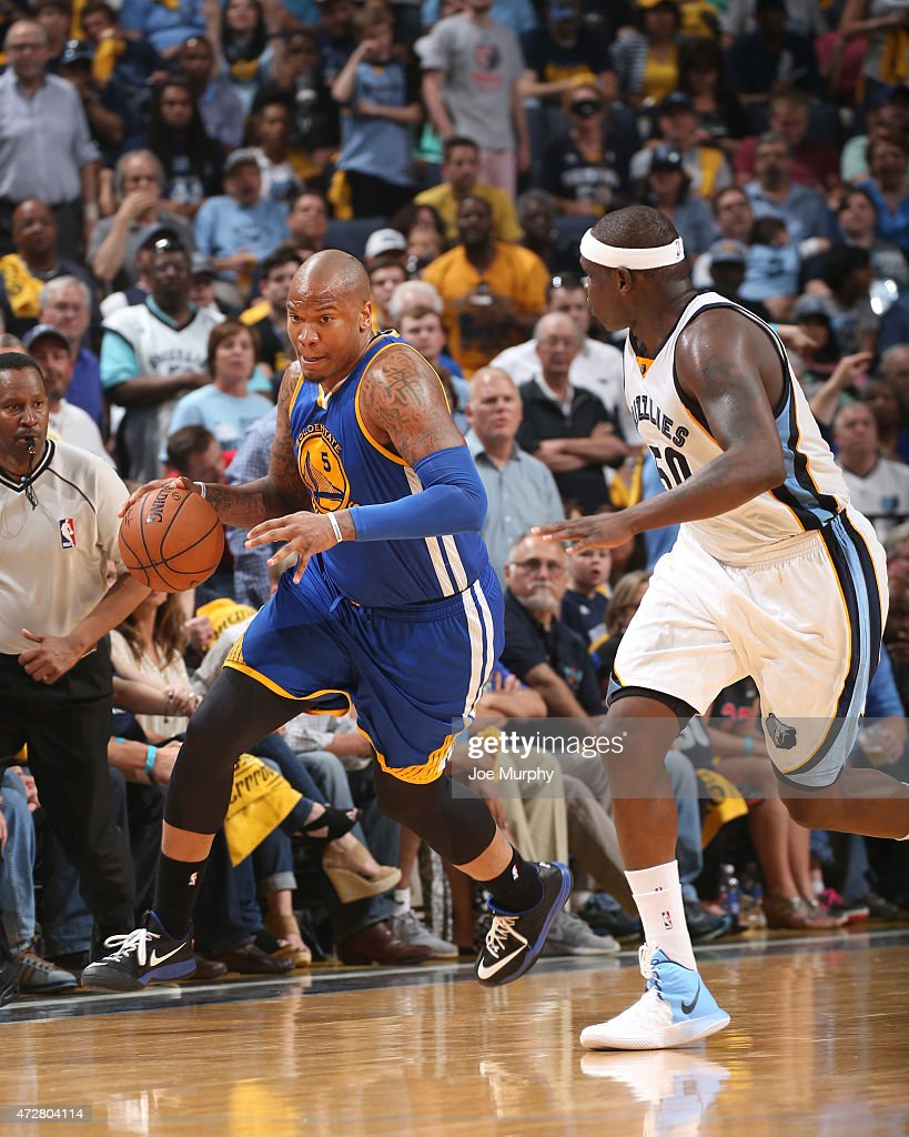 <a gi-track='captionPersonalityLinkClicked' href=/galleries/search?phrase=Marreese+Speights&family=editorial&specificpeople=4187263 ng-click='$event.stopPropagation()'>Marreese Speights</a> #5 of the Golden State Warriors drives to the basket against <a gi-track='captionPersonalityLinkClicked' href=/galleries/search?phrase=Zach+Randolph&family=editorial&specificpeople=201595 ng-click='$event.stopPropagation()'>Zach Randolph</a> #50 of the Memphis Grizzlies during Game Three of the Western Conference Semifinals of the NBA Playoffs on May 9, 2015 at FedExForum in Memphis, Tennessee.