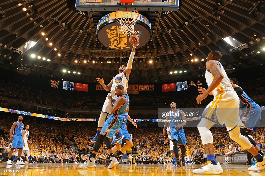 Marreese Speights of the Golden State Warriors drives to the basket against the Oklahoma City Thunder in Game Five of the Western Conference Finals...